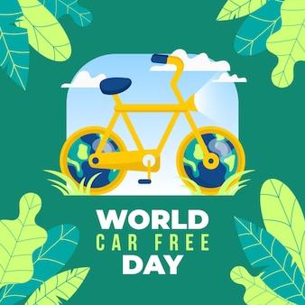 Concept de journée sans voiture du monde design plat
