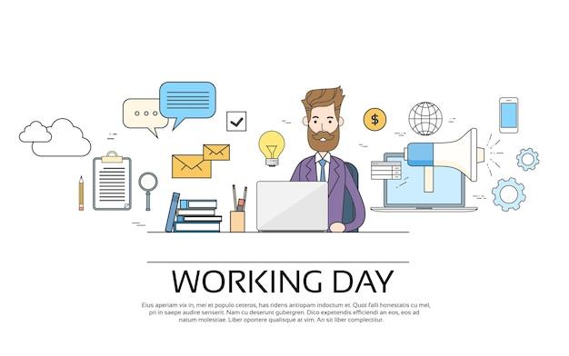 Concept de journée de travail business man utilisant un bureau de bureau