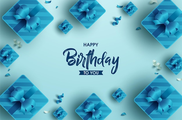 Concept de joyeux anniversaire avec cadre de boîte cadeau ruban