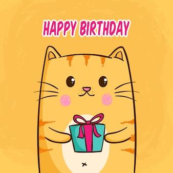 Concept de joyeux anniversaire avec kawaii ou un chat mignon tenant une boîte-cadeau