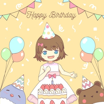 Concept de joyeux anniversaire de petite fille