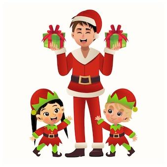 Concept de joyeux noël. un homme en costume de père noël tient une boîte-cadeau. jeune garçon et fille en costume d'elfe est près de lui. illustration de personnage de dessin animé