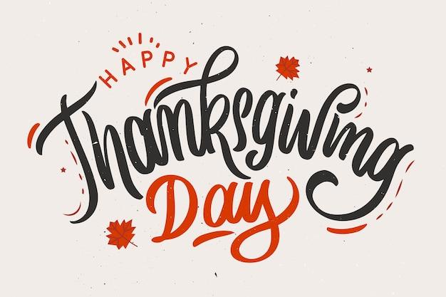 Concept de joyeux thanksgiving avec lettrage