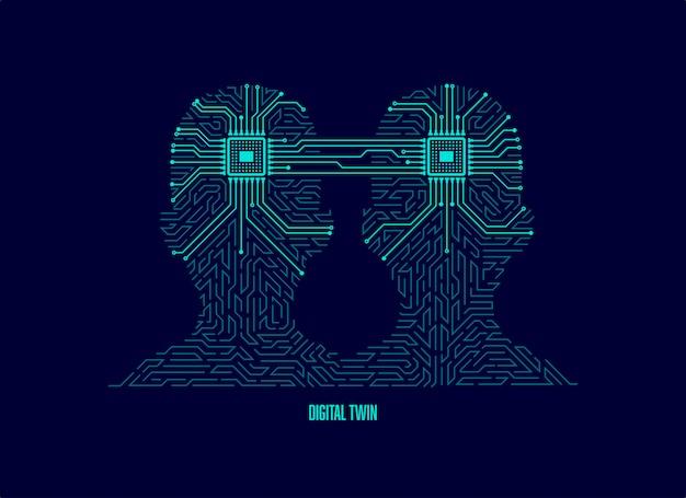 Concept de jumelage numérique ou d'apprentissage automatique
