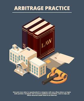 Concept de justice juridique. livres de droit juge et marteau de la salle d'audience de la poursuite femme femida richter symboles isométrique