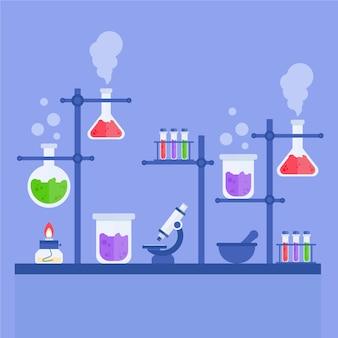 Concept de laboratoire scientifique plat
