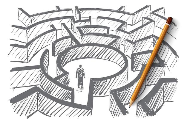 Concept de labyrinthe dessiné à la main avec un homme debout au centre du labyrinthe