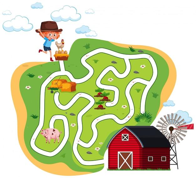 Concept de labyrinthe de ferme amusant
