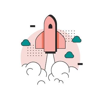 Concept de lancement de démarrage d'entreprise design plat avec icône de fusée