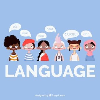 Concept de langue avec des bulles