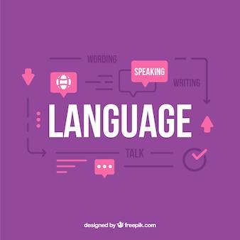 Concept de langue avec un design plat