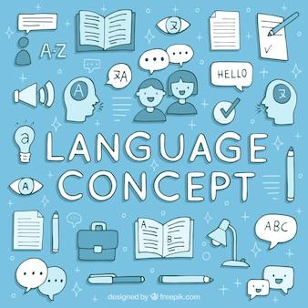 Concept de langues dessinées à la main