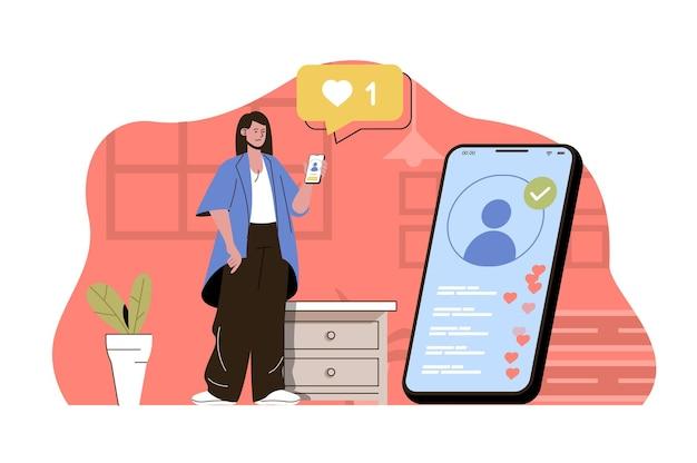 Concept leader d'opinion femme blogueuse diffuse en direct avec ses abonnés