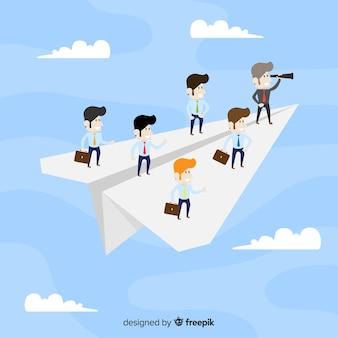 Concept de leadership et avions en papier