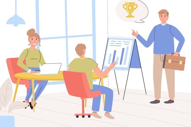 Concept de leadership équipe d'employés lors d'une réunion d'affaires, analyse des données et définition des objectifs