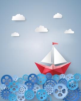 Concept de leadership avec voilier en papier