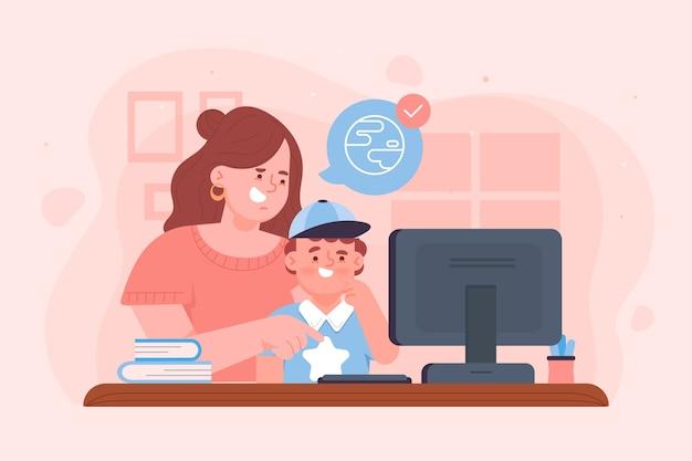 Concept de leçons en ligne pour enfants