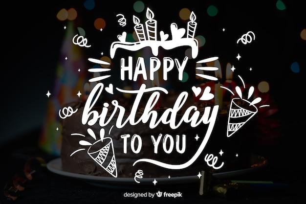 Concept de lettrage de joyeux anniversaire avec photo