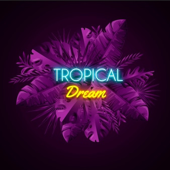 Concept de lettrage néon tropical