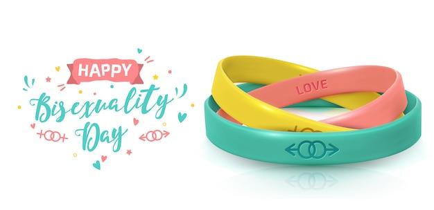 Concept lgbt pride avec des bracelets en caoutchouc. jour de célébration de la bisexualité.