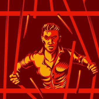 Concept de liberté des bars de prison brisés