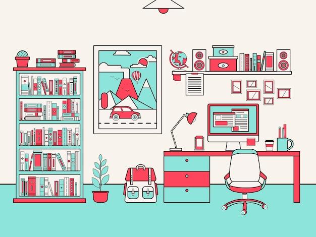 Concept de lieu de travail personnel dans un style de ligne plate