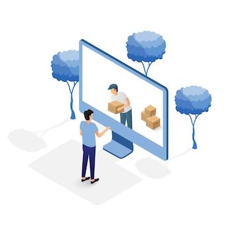 Concept en ligne d'achat d'ordinateur isométrique.