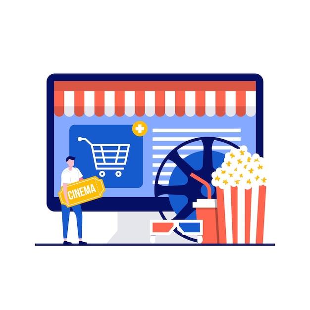 Concept En Ligne De Cinéma Et De Cinéma Avec Personnage Vecteur Premium