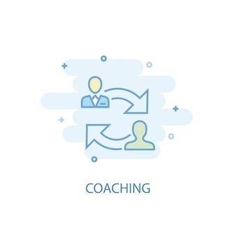 Concept de ligne de coaching. icône de ligne simple, illustration colorée. design plat de symbole de coaching. peut être utilisé pour l'ui/ux