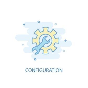 Concept de ligne de configuration. icône de ligne simple, illustration colorée. conception plate de symbole de configuration. peut être utilisé pour l'ui/ux