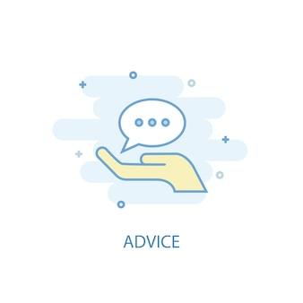 Concept de ligne de conseils. icône de ligne simple, illustration colorée. conception plate de symbole de conseil. peut être utilisé pour l'ui/ux
