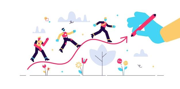 Concept de ligne graphique, gens d'affaires minuscules, illustration.