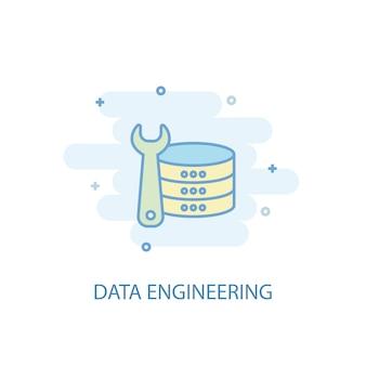 Concept de ligne d'ingénierie des données. icône de ligne simple, illustration colorée. conception plate de symbole d'ingénierie de données. peut être utilisé pour l'ui/ux