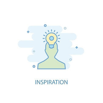 Concept de ligne d'inspiration. icône de ligne simple, illustration colorée. design plat de symbole d'inspiration. peut être utilisé pour l'ui/ux