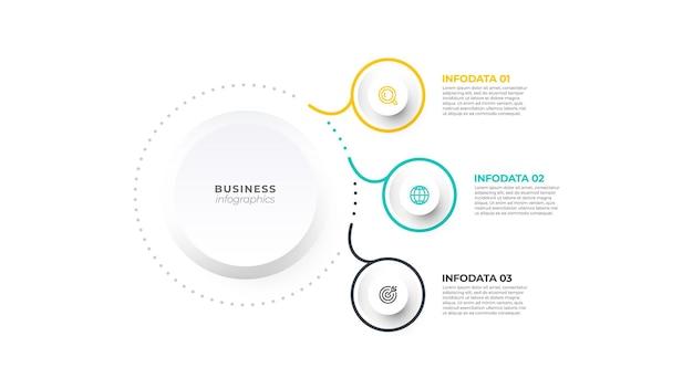 Concept de ligne mince de modèle d'infographie d'entreprise de présentation avec 3 options