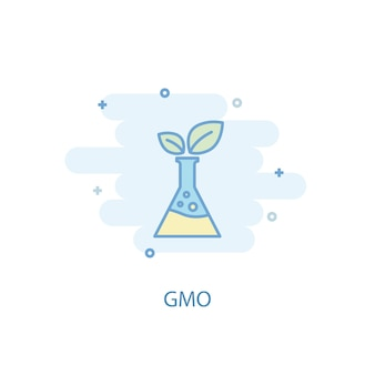 Concept de ligne ogm. icône de ligne simple, illustration colorée. design plat de symbole ogm. peut être utilisé pour l'ui/ux