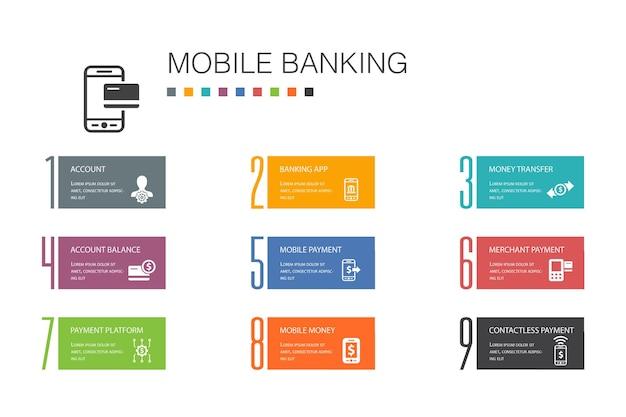 Concept de ligne d'option 10 infographie bancaire mobile. compte, application bancaire, transfert d'argent, icônes simples de paiement mobile