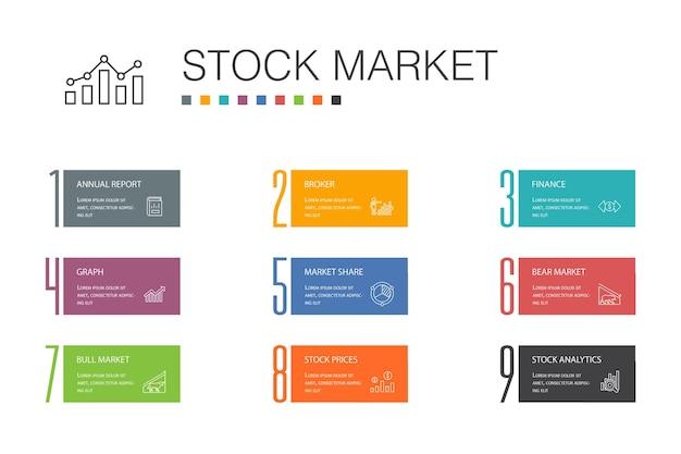 Concept de ligne d'option 10 infographie boursière. courtier, finance, graphique, icônes simples de part de marché