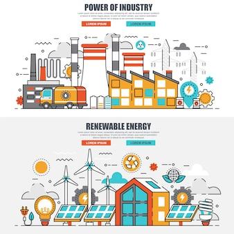 Concept de ligne plate industrie de l'énergie et énergie renouvelable