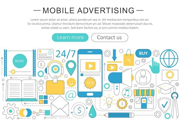 Concept de ligne plate de marketing de publicité mobile