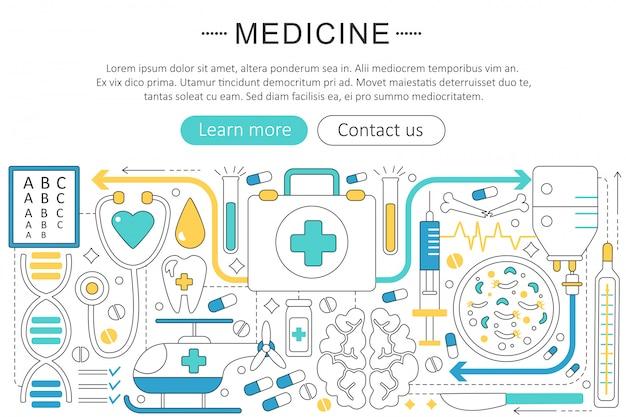 Concept de ligne plate de médecine de santé