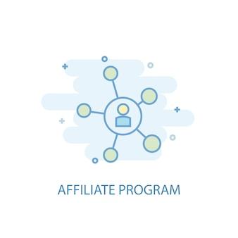 Concept de ligne de programme d'affiliation. icône de ligne simple, illustration colorée. conception plate de symbole de programme d'affiliation. peut être utilisé pour l'ui/ux