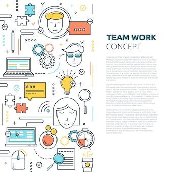 Concept linéaire vertical de travail d'équipe