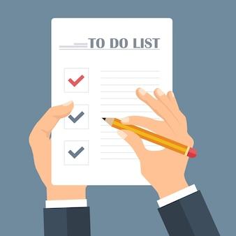 Concept de liste de choses à faire