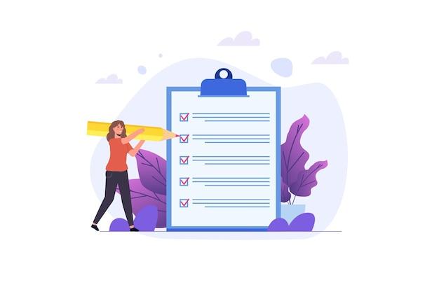 Concept de liste de contrôle de femme d'affaires. vérification de la réussite des tâches commerciales. illustration vectorielle
