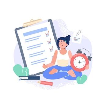 Le concept de liste de contrôle de tâche et de relaxation et de réveil de calendrier et de planificateur quotidien