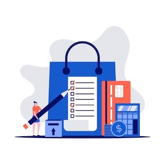 Concept de liste de courses avec des personnages tenant un crayon. client avec forfait, cartes de crédit, achat de marchandises.
