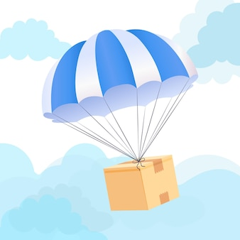 Concept de livraison de boîte de parachute. envoyer un service d'expédition de colis.