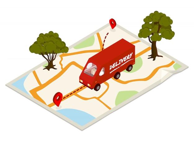 Concept de livraison avec camion et carte.