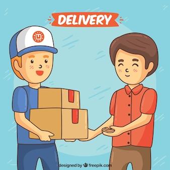 Concept de livraison avec des hommes heureux tirés à la main